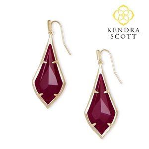 Kendra Scott Maroon Jade Olivia Drop Earrings